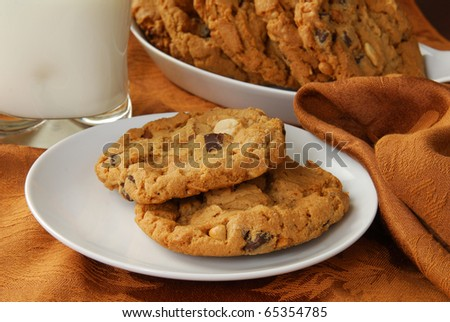 Holiday peanut butter and chocolate chip cookies with milk