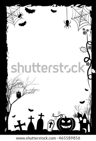 Holiday placard for Halloween. Black and white frame with pumpkin on cemetery. Trick or treat. Raster illustration