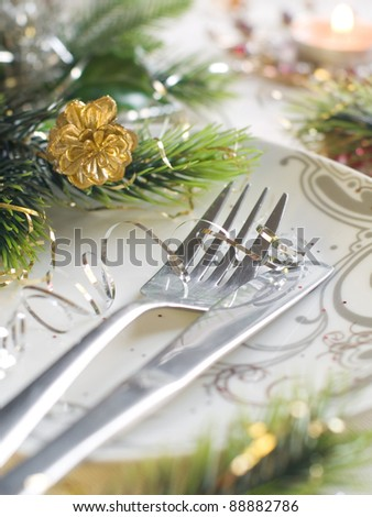 Holiday place setting for Christmas special celebration meals.