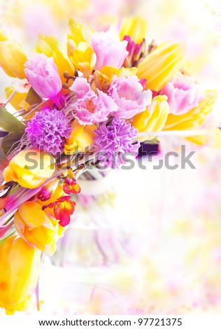 Holiday Postcard. Beautiful Spring Flowers - Yellow Tulips as Festive Art Background