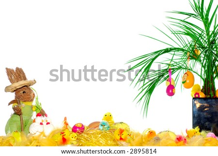 Holiday postcard, chicken babies, easter bunny and various eggs in colorful composition. Peace concept.  Copy space.