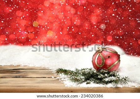 holiday red decoration and one red ball with tree