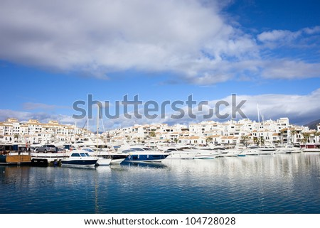 Holiday resort of Puerto Banus on Costa del Sol in Spain, southern Andalucia region, Malaga province.