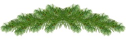 Holiday's greeting card with a realistic garland of pine tree branches. Wide green Christmas decoration. Fir branches border. Isolated. Panorama.