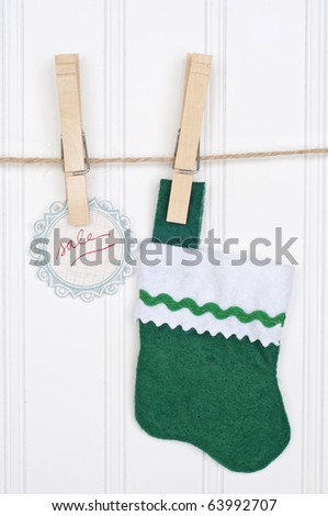 Holiday Sale Concept with Sale Tag Hanging on a Clothesline.