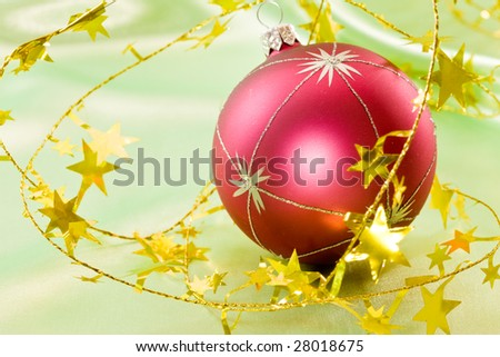 Holiday series:  Christmas ball and the golden garland