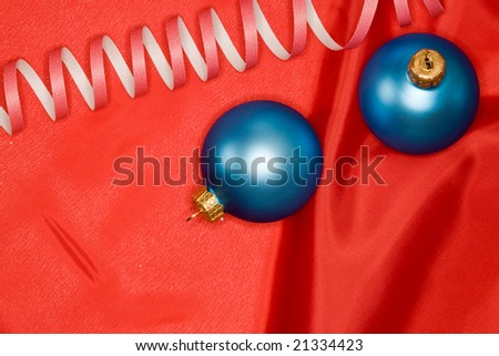 Holiday series:  Christmas decorated blue ball and streamer