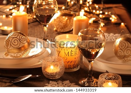 Holiday setting and decorations on table