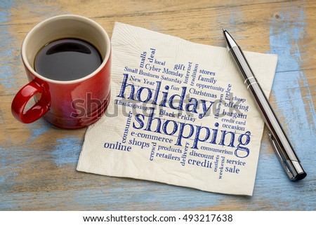 holiday shopping word cloud - handwriting on a napkin with a cup of coffee #493217638
