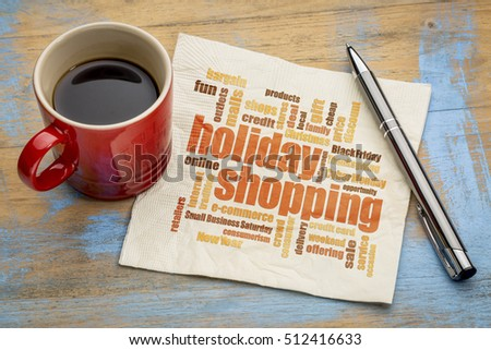 holiday shopping word cloud on a napkin with a cup of coffee #512416633