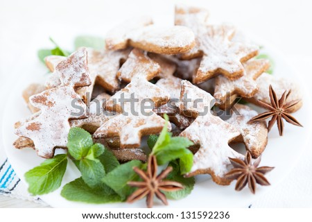 holiday shortbread cookies in the shape of Christmas trees, closeup