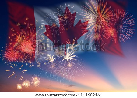 Holiday sky with fireworks and flag of Canada, independence day #1111602161