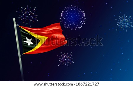 Holiday sky with fireworks and flag of East Timor, independence day - 3d render Сток-фото ©