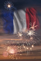Holiday sky with fireworks and flag of France, independence day