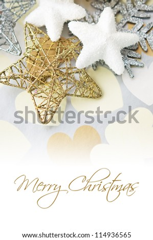 Holiday stars on background with hearts