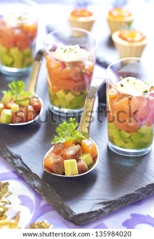 Holiday starter platter with fish appetizers stock photo for Christmas fish starters
