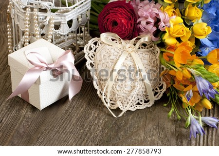 Holiday still life with flowers and gift box. March 8, valentine\'s day, mother\'s day, wedding