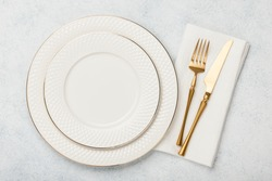 Holiday table place setting, top view