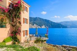 Holiday villa with sea view on coast of Kefalonia island in Assos village, Greece