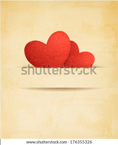 Holiday vintage Valentine`s day background. Two red hearts on old paper. Raster version.