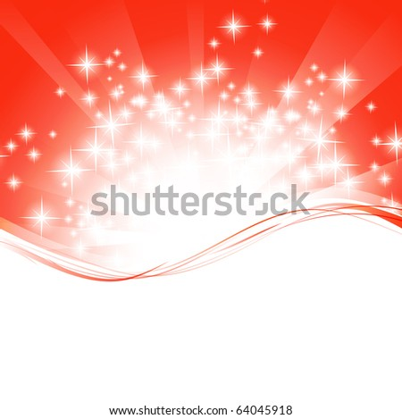 holiday wavy template with shining stars and copyspace