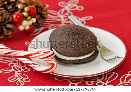 Holiday whoopie pie. Traditional dessert from New England.