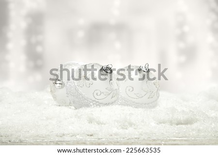 holiday winter decoration of snow and balls
