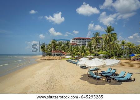 Holiday with the beautiful beach at Cha-am, Petchaburi, Thailand