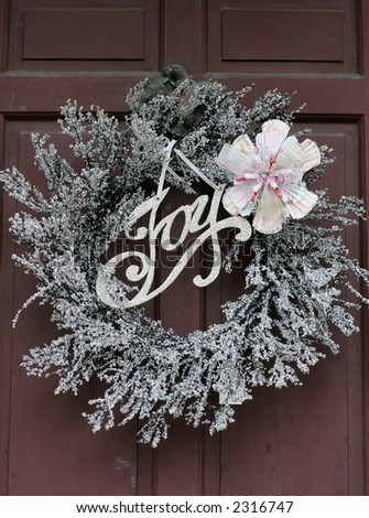 holiday wreath with flower and JOY
