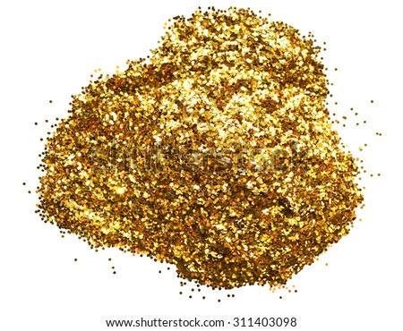 Holiday yellow glitter, gold sand and dust texture. Golden sparkling background. Orange brown metallic surface.