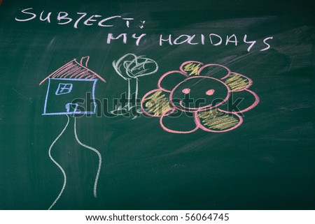 Holidays described on green chalkboard