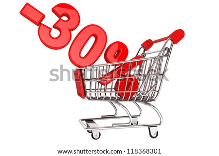 Holidays discount concept. Thirty percent discount in shopping cart isolated on a white background