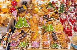 Holidays shopping. Gingerbread men at Christmas market in Strasbourg, Alsace, France.
