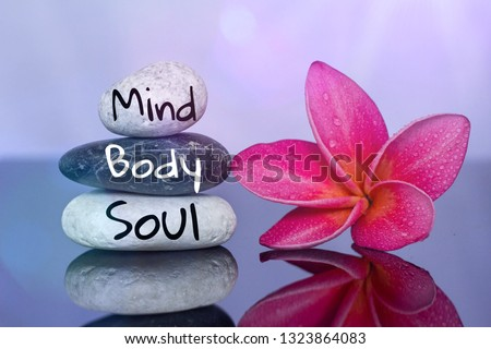 Holistic health concept of zen stones with red plumeria flower on black board. Text mind body soul.