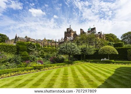 Holker Hall country house & Summer Garden near Cartmel, Cumbria, England Stock photo ©