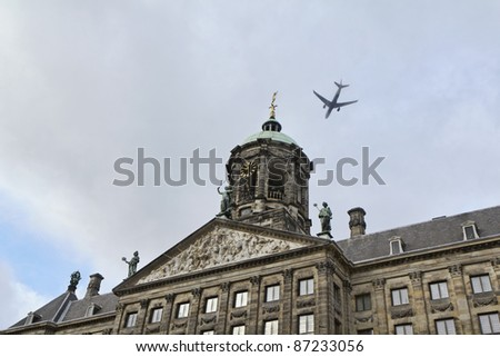 Holland, Amsterdam, Dam Square, the Royal Palace facade (Koninklijk Paleis), built in 17th century