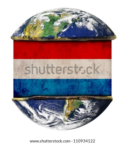 Holland earth globe flag. Elements of this image furnished by NASA.