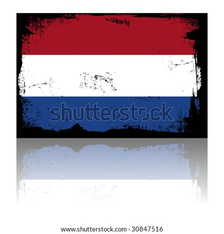 holland - grunge flag with shadow