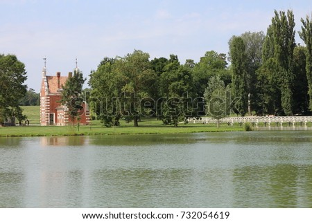 Holland house (A Holland Ház) on isle in garden of Classicist manor house in Dég, Hungary  Stock fotó ©