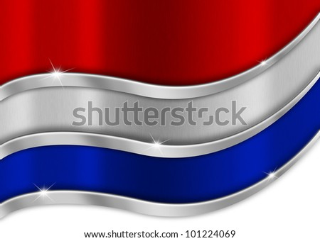 Holland Metal Flag / Red white and blue background national dutch metal flag