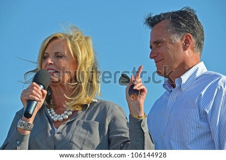 HOLLAND, MICHIGAN - JUNE 19: Mitt and Ann Romney campaign rally at Holland State Park, June 19, 2012 in Holland, Michigan.