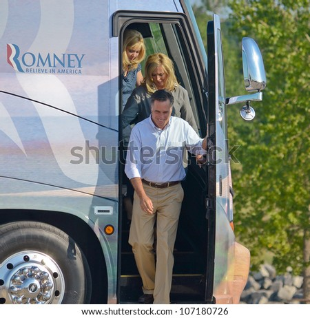 HOLLAND, MICHIGAN - JUNE 19: Mitt and Ann Romney campaign rally at Holland State Park, June 19,2012 in Holland Michigan