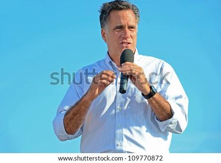 HOLLAND, MICHIGAN - JUNE 19: Mitt Romney campaign rally at Holland State Park, June 19, 2012 in Holland, Michigan.