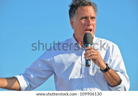 HOLLAND, MICHIGAN - JUNE 19: Mitt Romney campaign rally at Holland State Park, June 19, 2012 in Holland, Michigan. - stock photo