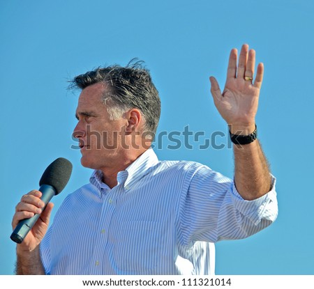 HOLLAND, MICHIGAN - JUNE 19: Mitt Romney campaign rally at Holland State Park, June 19, 2012 in Holland, Michigan