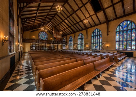 HOLLAND, MICHIGAN - MAY 13: Dimnent Memorial Chapel on the campus of Hope College on May 13, 2015 in Holland, Michigan #278831648