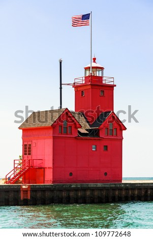 """Holland, Michigan South Pierhead Lighthouse is known as """"Big Red."""" - stock photo"""