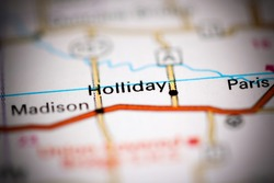 Holliday. Missouri. USA on a geography map