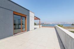 Hollow contemporary modern villa terrace