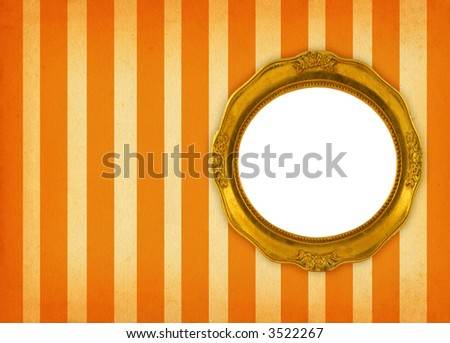 hollow gilded circular frame on retro background